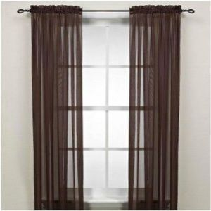Sheer Chocolate Brown Curtain Panel Set